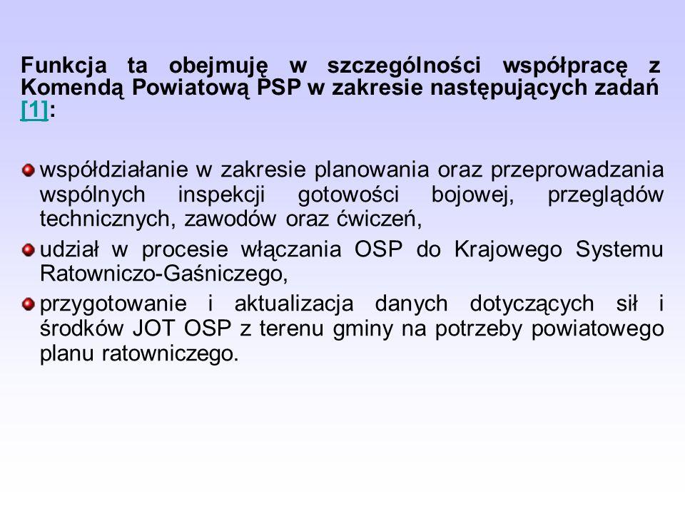 Funkcja ta obejmuję w szczególności współpracę z Komendą Powiatową PSP w zakresie następujących zadań [1]: